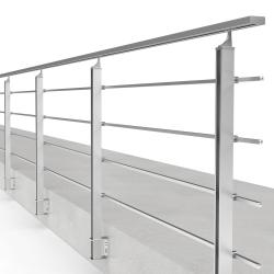 Balustrada model BOSTON MBA4L aluminiowa, wys. 101 cm, 4 x 14 x 14 mm, efekt stali nierdzewnej