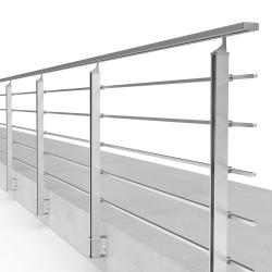 Balustrada model BOSTON MBA5L aluminiowa, wys. 101 cm, 5 x 14 x 14 mm, efekt stali nierdzewnej