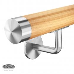 Poręcz Ø42,0 mm, wsporniki model S112, drewno bukowe, bejca + lakier