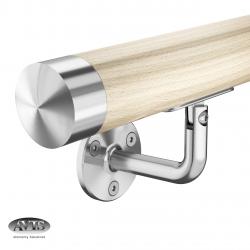 Poręcz Ø42,0 mm, wsporniki model 0102, drewno bukowe + lakier