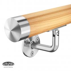 Poręcz Ø42,0 mm, wsporniki model 0102, drewno bukowe, bejca + lakier