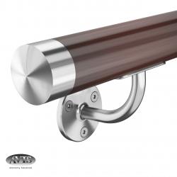 Poręcz Ø42,0 mm, wsporniki model S112, drewno dębowe, bejca + lakier