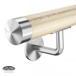 Poręcz Ø42,0 mm, wsporniki model S112, drewno dębowe + lakier bezbarwny