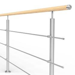 Balustrada model ATLANTA MGD3I nierdzewna + drewno, wysokość 101 cm, 3 x Ø12 mm