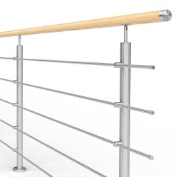 Balustrada model ATLANTA MGD5I nierdzewna + drewno, wysokość 101 cm, 5 x Ø12 mm