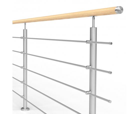 Balustrada model ATLANTA MGD5I nierdzewna + drewno, wysokość 101 cm, 4 x Ø12 mm