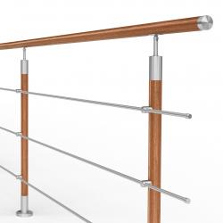 Balustrada model DALLAS MGD3I nierdzewna + drewno, wysokość 101 cm, 3 x Ø12 mm