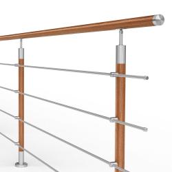 Balustrada model DALLAS MGD4I nierdzewna + drewno, wysokość 101 cm, 4 x Ø12 mm