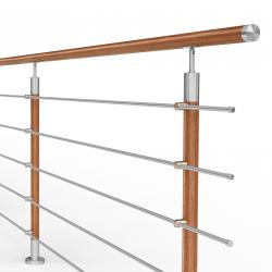 Balustrada model DALLAS MGD5I nierdzewna + drewno, wysokość 101 cm, 5 x Ø12 mm