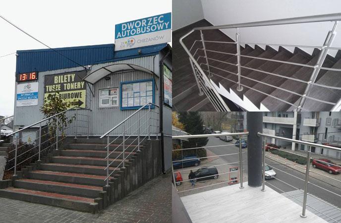 Montaż balustrady nierdzewnej na Dworcu Autobusowym w Chrzanowie